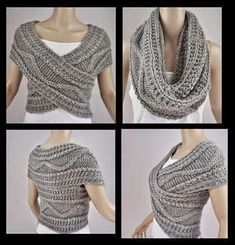 "diy_crafts-Bufanda circular ""Grey Vest Jacket Bolero Snood Knitted by FrenchCrochetStory"" Crochet Poncho, Crochet Scarves, Crochet Clothes, Diy Clothes, Crochet Shrugs, Knit Cowl, Sewing Clothes, Cable Knit, Diy Fashion"