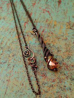 Trumpet Vine Pendant, Door 44 Original, Copper Wire Wrapped Pendant, Copper Stick Pendant, Woven Copper Stick Pendant, Made in Colorado by Door44Jewelry on Etsy