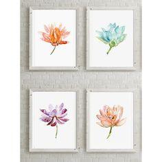 Set of 4 Lotus Flower Watercolor paintings - Fine Art Prints - Purple pink orange Aqua Blue Green Lotus Art Buddhism Zen Flowers Meditation