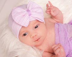 Purple newborn hat with bow hospital hat baby girl by SkylarnMe