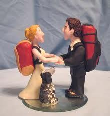 Backpacker cake topper w/ dog