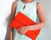 Oversize Neon Orange Fold Over Python Snakeskin Leather Clutch Bag