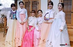 Korean girl group Gfriend in hanbok dresses Korean Traditional Dress, Traditional Dresses, South Korean Girls, Korean Girl Groups, Happy Lunar New Year, Korean Wedding, New Year Greetings, Korean Entertainment, G Friend