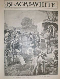 Typical wagon and activities in a Boer laager.