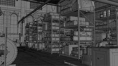 ArtStation - The Order 1886: Black Wall Yards warehouse - wireframes, Nestor Carpintero