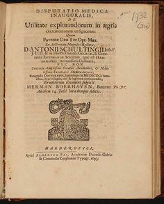 Op 23 september 1738 overleed Herman Boerhaave, Nederlands geneeskundige. Dit is het proefschrift waarop hij in 1693 promoveerde aan de universiteit van Harderwijk.