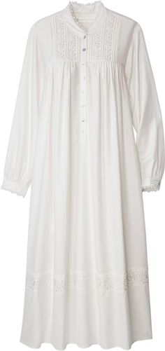 Eileen West Splendor Gown is beautifully adorned with embroidered flowers at the shoulder yoke, cuffs and hem. Sleep in elegance with this breathable cotton nightgown. Vintage Tops, Mango, White Lace Blouse, White Chiffon, Sheer Chiffon, Chiffon Shirt, Smock Dress, Lace Sleeves, Chic