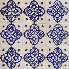 Champagne Blue Mosaic House Hand Painted Tile