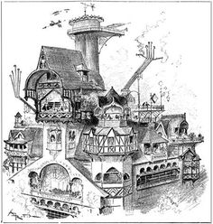 """Albert Robida, « L'hôtel de Philox Loris », in : """"Le vingtième siècle : la vie électrique"""", Paris, La Librairie Illustrée, 1892"""