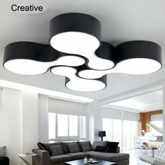 Modern Led Ceiling Lights 12w Acrylic LED ceiling Lamp dining Room bowling Bedroom light black white 2 color Lighting Fixture -- To view further for this item, visit the image link.