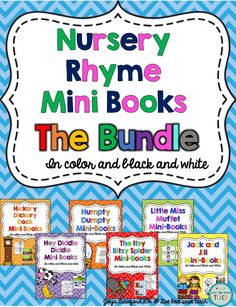 Now all my nursery rhymes mini books are all together in one bundle. These books are great for young readers and for students learning their nursery rhymes. Teach your students to sing along as they flip through the pages. Nursery Rhymes | Humpty Dumpty | Jack and Jill | Itsy Bitsy Spider | Hickory Hickory Dock | Hey Diddle Diddle | Little Miss Muffett | Nursery Rhyme Books | Preschool | Kindergarten