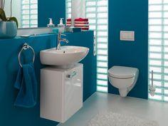 Auch im kleinen Gäste-WC großartig individuell. Handwaschbecken in 400, 450 und 500 mm Breite, ab 450 mm mit variantenreichem Unterschrankprogramm.  Renova Nr. 1 - Die kreative Lösung auf der ganzen Linie.