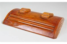 Lot 636 - Art Deco Carvacraft marble effect Bakelite desk stand, with two ink reservoir's with sliding lids,