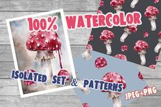 Watercolor pattern with amanita by papaNebo on @creativemarket