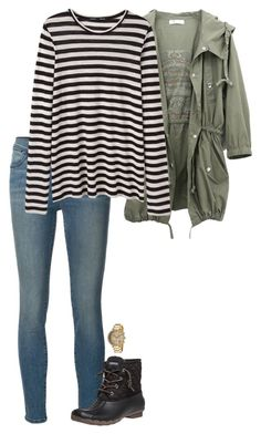 """cute winter outfit ❄️"" by sassy-and-southern ❤ liked on Polyvore featuring Frame Denim, Proenza Schouler, Sperry Top-Sider, Michael Kors and sassysouthernwinter"