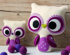 PDF. Big eyes owl and small owl brooch. Plush Doll by Noialand