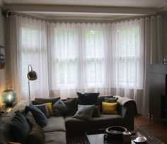 Curtains for Large Living Room Window . Curtains for Large Living Room Window . Velvet Drapes with Wide Decorative Trim Layered Over A soft Bay Window Curtains, Voile Curtains, Curtains Living, Living Room Windows, Sheer Drapes, Living Room White, Beautiful Living Rooms, Living Room Pictures, Fashion Room
