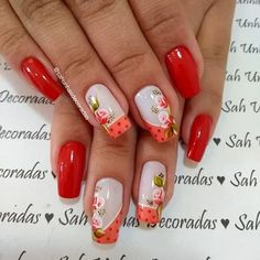 78 modelos de uñas decoradas con flores - e-Consejos Flower Nail Designs, Pretty Nail Designs, Nail Art Designs, Fancy Nails, Red Nails, Hair And Nails, Cute Spring Nails, Summer Nails, Gorgeous Nails