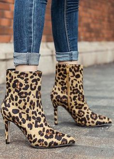 Leopard Printed Suede High Heel Short Boots _Women Shoes_Sexy Lingeire | Cheap Plus Size Lingerie At Wholesale Price | Feelovely.com