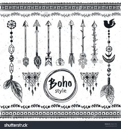 Hand Drawn Boho Design Elements Set. Wild Style Labels With Arrows, Feathers, Flowers, Leaves.. Vector Decoration, Divider, Frame, Border Design. - 435631765 : Shutterstock