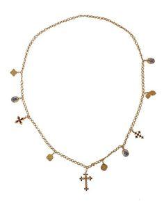Gold Brass Crystal Cross Necklace