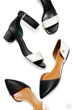 Clean lines + minimalist shapes: Tory Burch Viv Flat & Tana Sandal
