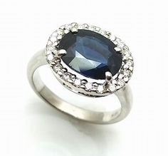 3.80CT Genuine Blue Sapphire and Diamond Halo Engagement Ring 18K White Gold #sapphirering #engagementring #bridal #Engagement #ring