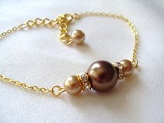 Bridesmaids Bracelet, Chocolate Brown and Champagne Glass Pearls Bracelet, Wedding, bridal party gift, Holiday gift, Xmas Stocking stuffer on Etsy, $18.50