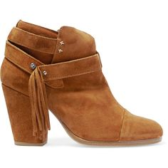 rag & bone Harrow fringed suede ankle boots (15.565 RUB) ❤ liked on Polyvore featuring shoes, boots, ankle booties, tan, studded ankle boots, tan suede booties, high heel booties, tan suede ankle booties and high heel boots