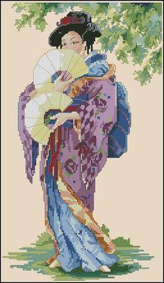 0 point de croix geisha 2 éventails - cross stitch geisha 2 fans