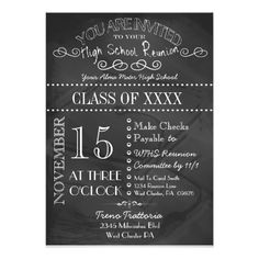 Any year class reunion personalized chalkboard invitation diy high school reunion chalkboard invitation 5 x 7 invitation card stopboris Gallery