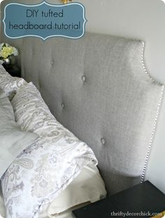diy tufted headboard made with MDF, Duvet, buttons & Stapler Gun. Full instructions & photos - nice blog too