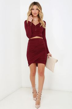 """You'll be so excited to meet the Nice Two Know You Wine Red Two-Piece Dress and show it off at your next event! Sleek jersey knit falls to long fitted sleeves alongside a cropped surplice bodice with gathered sides. Complete this sassy combo with the high-waisted skirt with elasticized waistband, matching gathering down the sides, and a tulip design. Top is lined; skirt is unlined. Small top measures 15"""" long. Small bottom measures 18"""" long. 95% Rayon, 5% Spandex. Hand Wash Cold."""
