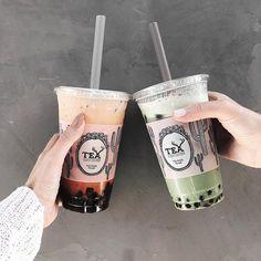 Thai tea and matcha green tea boba #la_withme