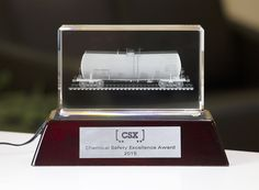 2016 Crystal Tombstone Custom Crystal Award on Wooden Base for CSX - Front View Custom Trophies, Crystal Awards, Custom Awards, Excellence Award, Over The Years, Base, Crystals, Crystals Minerals, Crystal