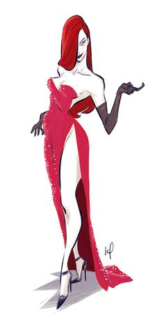 Jessica Rabbit by Kenny Park (http://theartofanimation.tumblr.com/post/92367329988/kenny-park) ★ || CHARACTER DESIGN REFERENCES | マンガの描き方 • Find more artworks at https://www.facebook.com/CharacterDesignReferences  http://www.pinterest.com/characterdesigh and learn how to draw: #concept #art #animation #anime #comics || ★