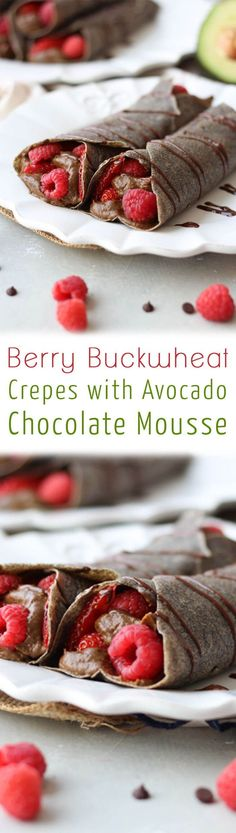 This Berry Buckwheat Crepes with Avocado Chocolate Mousse is a perfect Vegan Gluten Free Mother's Day dessert or brunch idea that mom is going to love!