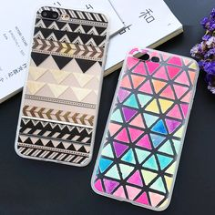Fashion Colorful Geometric Back Cover For Iphone 7 Case Phone Cases For iphone7 6 6S Plus 5 5S Retro Triangle Grid Pattern Capa