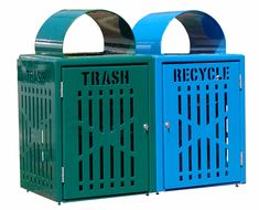 32 Gallon Diamond Trash and Recycling Bins With differentiating colors of thermoplastic and clear text laser cut in the doors, visitors can easily determine where to put their waste so the flower beds aren't dotted with garbage. #recyclingbins #parkrecyclingbins