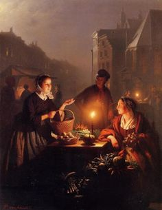 A moonlit vegetable market by dutch belgian painter Petrus van Schendel (1806-1870), studied at the Academy of Fine arts in Antwerp from 1822 to 1828. In 1828 he won a gold medaille for perspective painting. he started out making portraits and his work was often on view for the the public. He married 3 times and had 15 children in total. From 1845 till his death he lived in Brussels. He was most fond of painting candle lit scenes