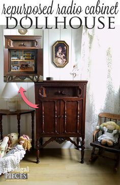 Repurposed Radio Cabinet Turned into Whimsical Dollhouse by Prodigal Pieces | www.prodigalpieces.com