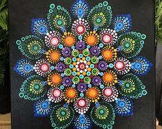 Dot Mandala on 10x10 stretched canvas