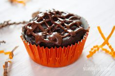 Super Moist Low Fat Chocolate Cupcakes with Chocolate Glaze | Skinnytaste 2 points plus without glaze..only 3 points plus with glaze