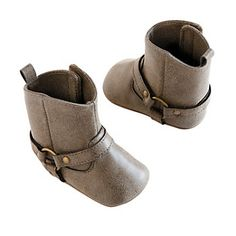 Baby Girl Carter's Prewalker Brown Buckle Boot Crib Shoes