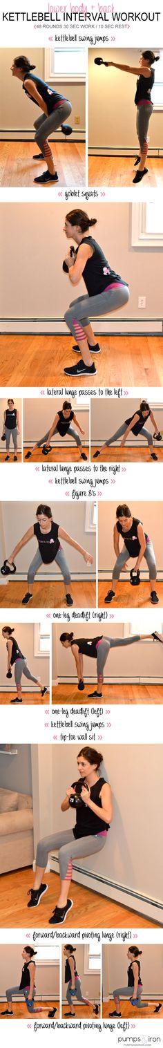 Lower-Body & Back Kettlebell Interval Workout