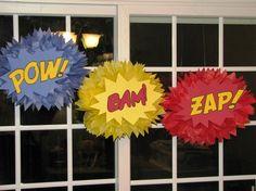 pinterest superhero themes | superhero classroom ideas | superhero tissue paper pompom to decorate ...