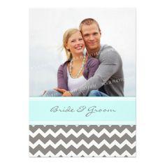 Photo Wedding Invitations Grey Blue Chevron