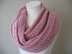 Blossom Pink Double Infinity  Crocheted Scarf Cowl Snood.