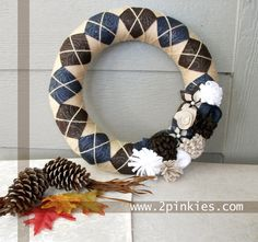 Yarn Wreath - 14 Fall Wreath, Tan, Brown, Blue and White Argyle with Felt Flowers Fall Yarn Wreaths, Felt Wreath, Wreath Crafts, Diy Wreath, Wreath Ideas, Felt Flower Tutorial, Crochet Home Decor, Handmade Home Decor, Yarn Colors