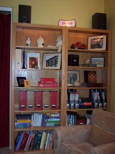 Organized bookshelves in a home office. Receive free organizing tips at http://www.perfectlyplaced.org/contact.php